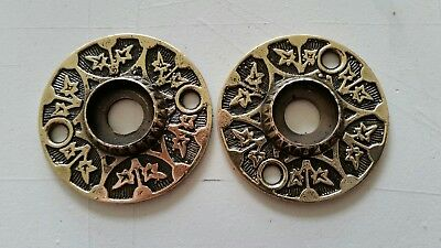 PAIR Antique Victorian SOLID Brass Door Knob Backplates  RESTORED (428A )