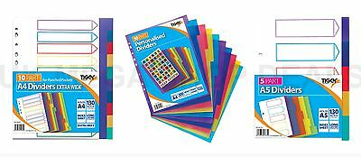 A5 A4 File Dividers Plastic Coloured Tabs Subject Filing Numbered A-Z Extra Wide