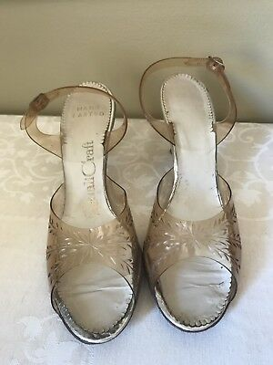 Vintage 1950s QualiCraft clear plastic slingback 3 in. heels wedding shoes RETRO