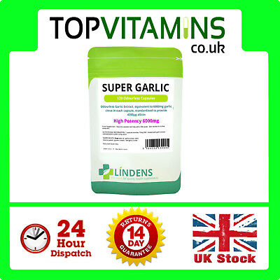 Garlic 6000mg Odourless 120 Capsules ✰ Super Strength ✰ Helps Blood Pressure ✰