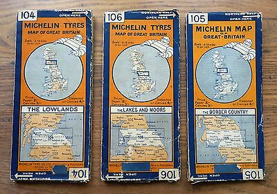 Three Michelin Vintage Canvas Maps Of Great Britain