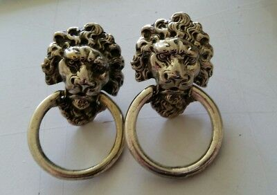 PAIR vintage white brass Lion Head ring pulls restored   great detail  (432A)