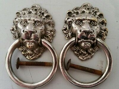 PAIR vintage white brass Lion Head ring pulls restored   great detail  (432B)