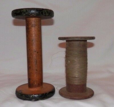Vintage Wood Textile Mill Spools (lot of 2)