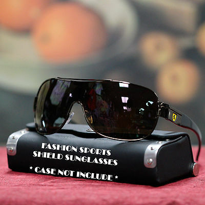 KHAN Designer Shield Sunglasses Trendy Sport Metal Men UV 400 Brown Gun Metal