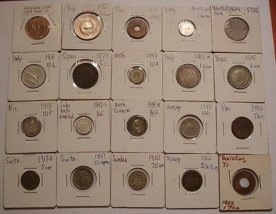 20 piece World Coins NICE MIX w/ Silver  1762 Norway PAKISTAN, SWEDEN SWISS ++