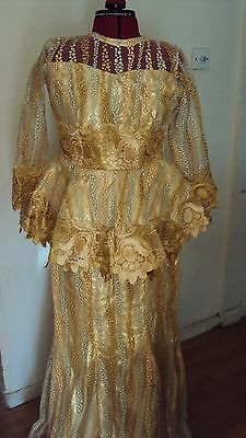 African Tulle Lace 3/4 Sleeve Fitted Top & Long Skirt in Gold & Beige UK 10 -12