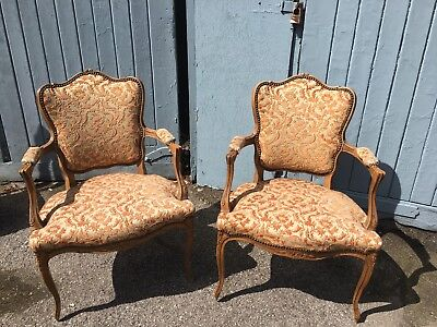 Beautiful Pair Of French Carved Framed Armchairs