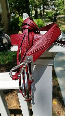Brighton Red Leather Self Tie Belt w Silver Buckle Size M