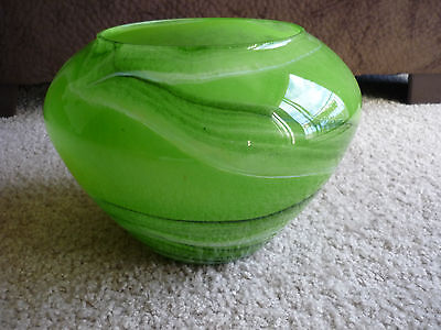 Lovely Hand Blown Art Glass Bowl/ Green Swirls/ Romania