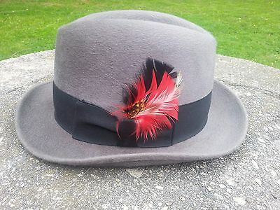 Vintage Giorgio Cellini fedora hat dove grey size 7 1/4 Henry the Hatter