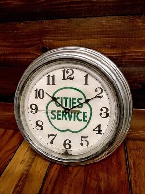 Cities Service Sign Neon Clock Gas Oil Advertising