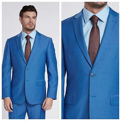 French Blue 100% Wool by Mantoni 2 button slim fit style suit