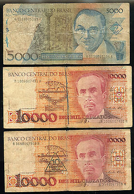 BRAZIL 5,000 cr NOTE + 10,000 cr + 10 cn OVERPRINTED NOTE