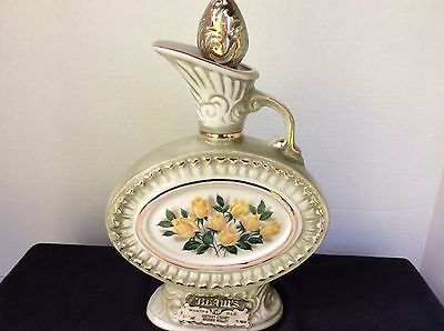 Jim Beam 1969 Decanter Floral Pattern Yellow Roses