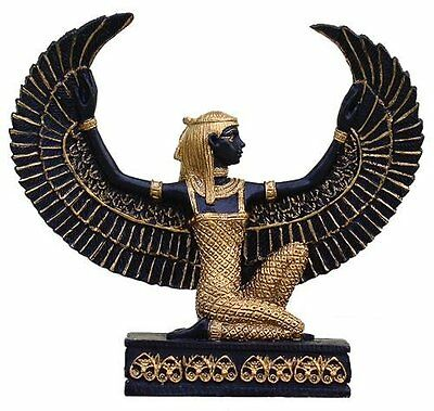 "3"" Egyptian Winged Isis Kneeling Maat Sculpture Ancient Egypt God Statue Small"