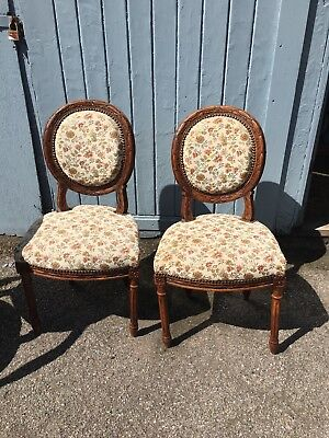 Beautiful Pair Of French Walnut Framed Chairs Carved Detail