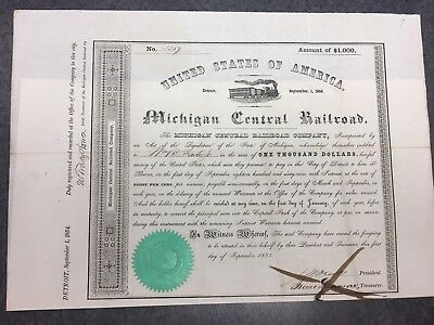 1854 Michigan Central Railroad Bond Stock Certificate Coupons