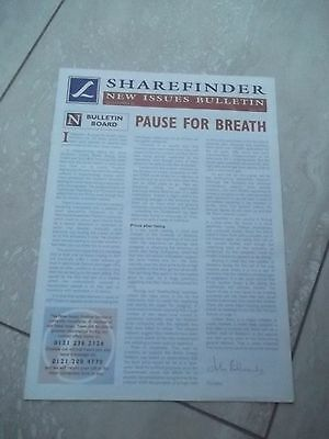 Sharefinder. New Issues Bulletin.  JULY 1996  VERY INTERESTING