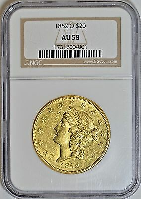 1852-O New Orleans $20 Gold Ngc Au58