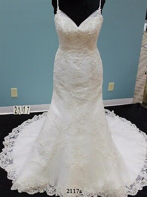 NEW Casablanca 2117 $1495 ivory lace fit flare bridal wedding gown dress - 12 14