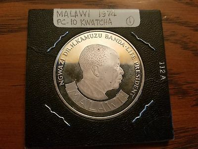 1974 Malawi 10 Ten Kwacha 10th Anniversary Independence Silver Coin