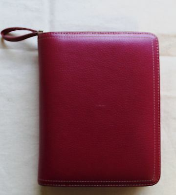 "6 --1.25"" rings Compact Franklin Covey CHERRY RED GENUINE Leather ZIPPER Planner"