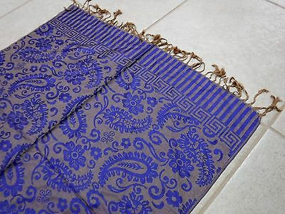 New! Purple and Bronze Cashmere Pashmina Shawl Scarf Wrap 69 x 25 inches