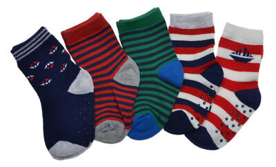 5 pairs of Baby Boys Boats & Stripe designs socks with Grippers 12-24 months