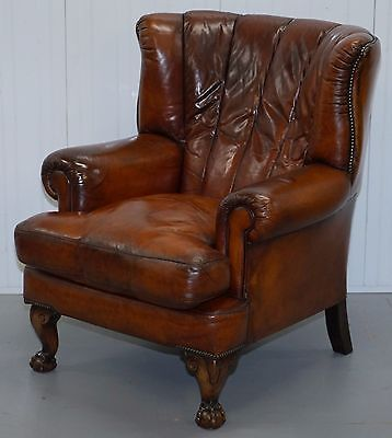 Rrp £1979 Custom Hand Dyed Tetrad Blake Armchair Aged Brown Leather Chesterfield