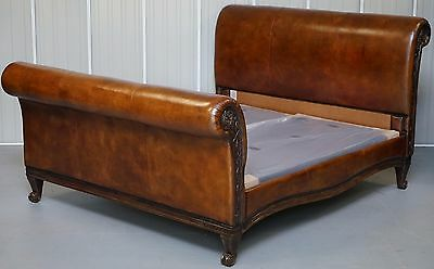 Rrp £10,775 New Custom Made And So To Bed Bonaparte Super King Size Leather Bed