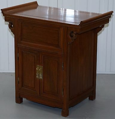Teak Lacquered Chinese Altar Cabinet For Record Player Drinks Storage Cupboard