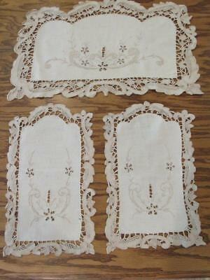 Antique Exquisite Ecru Linen Embroidered Point de Venise Embroidered Chair Set