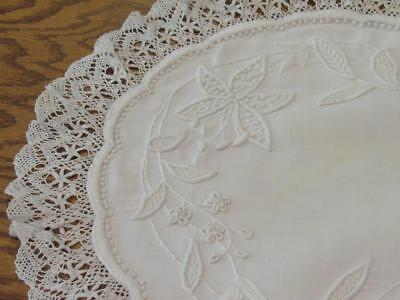 """Vintage Antique Whitework Heavy Embroidery Lily Doily Bobbin Lace Trim 14"""""""