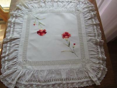Antique SOCIETY SILK Linen Pillow Cover Carnations Fabulous Drawn Work & Trim
