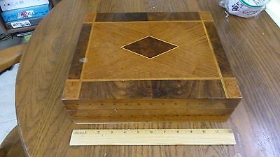 Distinctive antique elaborate marquetry wooden tabletop box - inlaid