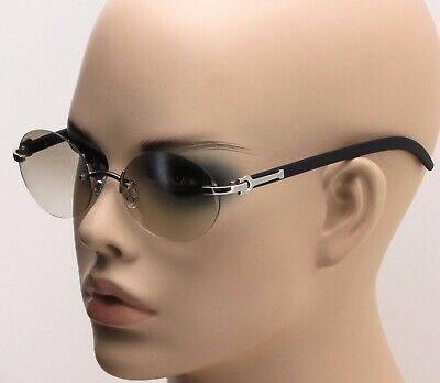 Retro Wood Buffs Vintage Style 90s Gangster Rimless Clear Lens Oval Eye Glasses