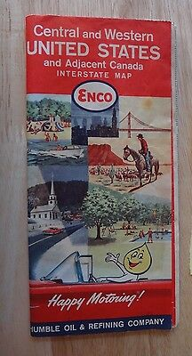 1961 ENCO Humble Oil Central & Western United States Canada Road Interstate Map