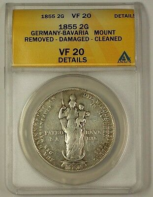1855 Germany-Bavaria 2 Gulden Silver Coin ANACS VF-20 Details Cleaned Damaged