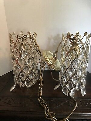 Antique Glass Crystal Double Tier Chandelier