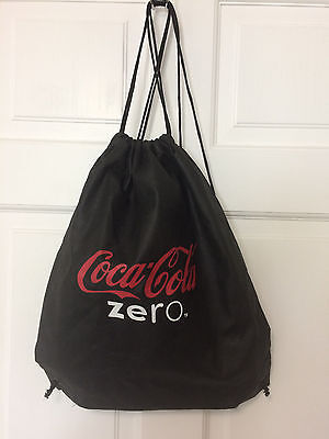 Coke Zero Logo Eco-Friendly Drawstring Bag Sack Back Pack ~ Black ~ 14 x 16
