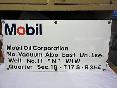 MOBIL Mobil Oil Corporation Porcelain Lease/Well Sign