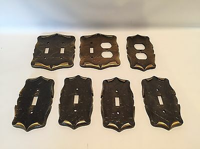 Lot of 7 Vintage Amerock Carriage House Brass Light Switch Outlet Plate Covers