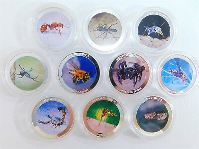 Deadly Bugs 10 Colored Proof Coin Set 38mm Zambia 1000 Kwacha 2010 AA0781
