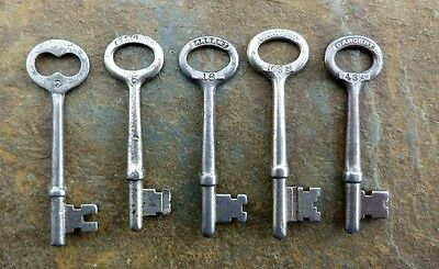 Five Assorted Antique Sargent Antique Mortise Lock Skeleton Keys  Door Keys