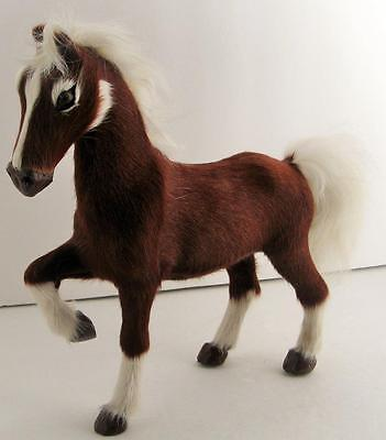 """Real Fur Horse Figurine With Glass Eyes~9"""" Tall X 10"""" Long X 3 1/2"""" Wide~Vg Cond"""