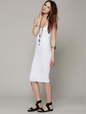 NEW Free People Intimately Tea Length Seamless Slip Dress White XS/S-M/L $45.03