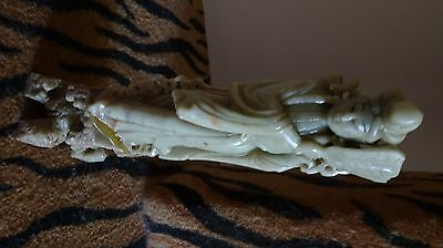 Antique Chinese big soapstone(青田石) carved Kian Yin woman