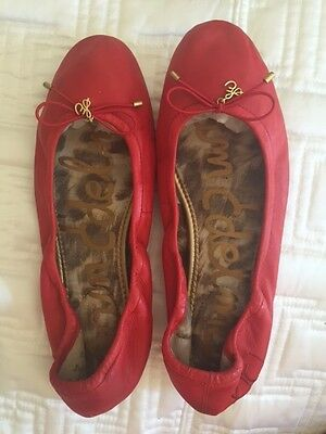 Women's Red Leather Sam Edelman Ballet Flats Size 10M Great Deal!