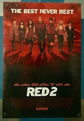 RED 2, 1 Sheet 2 sided theatre movie poster, Staring Bruce Willis,John Malkovich